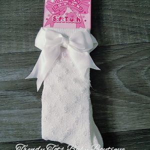 Knee high bow socks cream