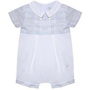 Baby Boys Spanish Style Sky Blue Embroidered Train Short Romper Top /& Hat Suit