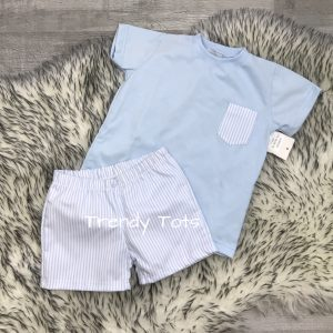 BABY BOYS FINE  KNITTED CABLE DESIGN  2 PIECE SHORT SET