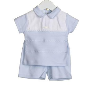 Baby Boy Collared Bodysuit Blue White Traditional Spanish Outfit by Zip Zap